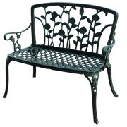 Patio Bench in Antique Green Finish