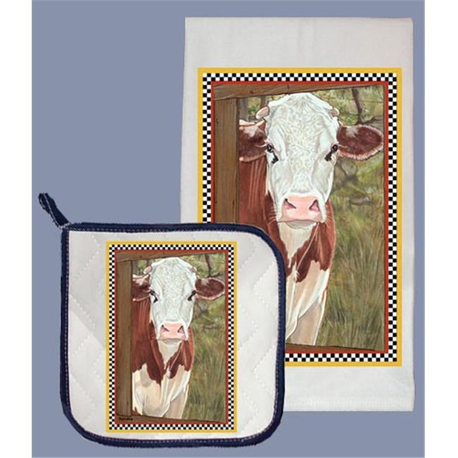 Pipsqueak Productions DP603 Cow Dish Towel And Pot Holder Set
