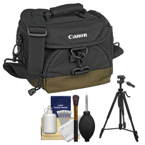 Canon 100EG Digital SLR Camera Case Gadget Bag + Tripod + Kit for EOS 6D, 7D, 77D, 80D, 5DS R, 5D Mark II III IV, Rebel T6, T6i, T6s, T7i, SL1, SL2