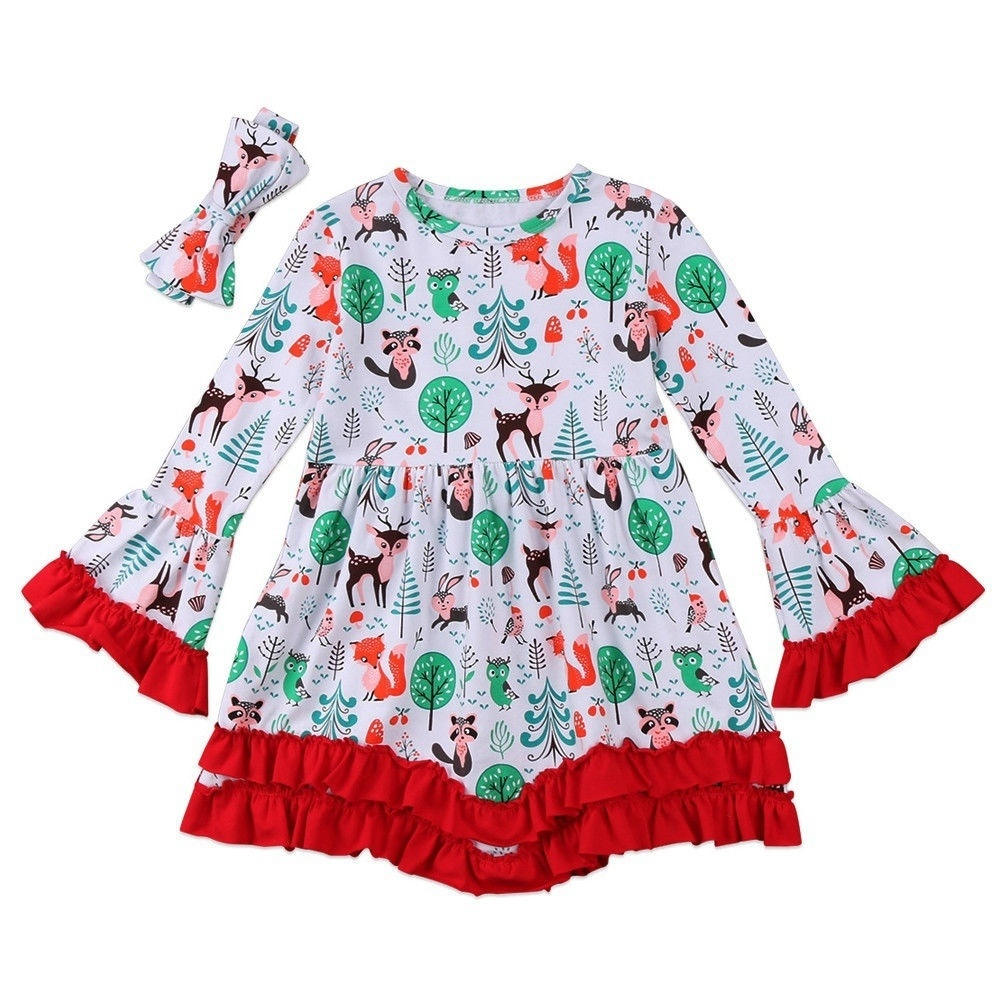 Christmas Toddler Kids Baby Girl Dress Tops Blouse+Headband Outfits Clothes Set