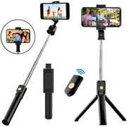 SUGIFT Selfie Stick, Aluminum Alloy Selfie Stick Phone Tripod with Wireless Remote Shutter Compatible with All Cell Phone, Compact Size & Lightweight