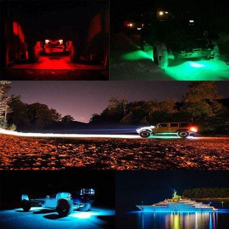 Jeobest 4 Pods LED Rock Lights Kit - Led Rock Lights for Trucks - 4 Pods Mini Bluetooth RGB LED Rock Light LED Neon Trail Rig Lights for Car Truck ATV UTV Offroad Boat Trail Rig Lamp Underbody Glow Trunk Light Kit