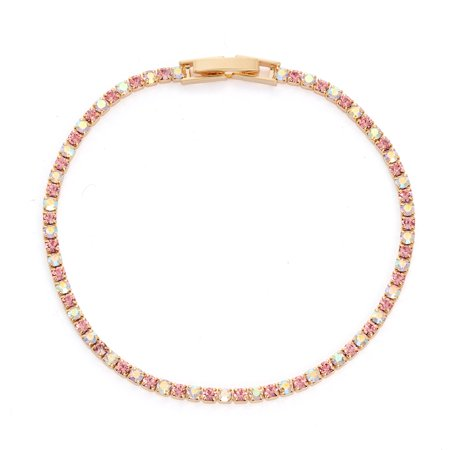 X & O 14KT Gold Plated Crystal Single Row Bracelet in Light Rose and Crystal AB Combination
