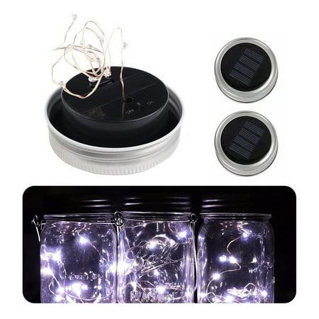 3-Pack Solar Powered Mason Jar Lid 10 LED Fairy String Lights Party Garden Decor - Mason Jar Lights For Sale