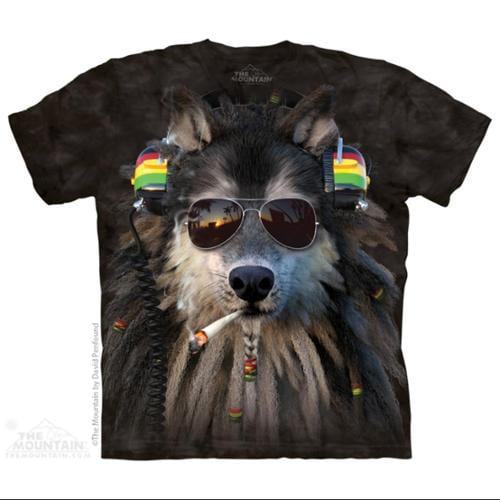 The Mountain Black Cotton Smoking Rasta Wolf Design Novelty Adult T-Shirt (L)