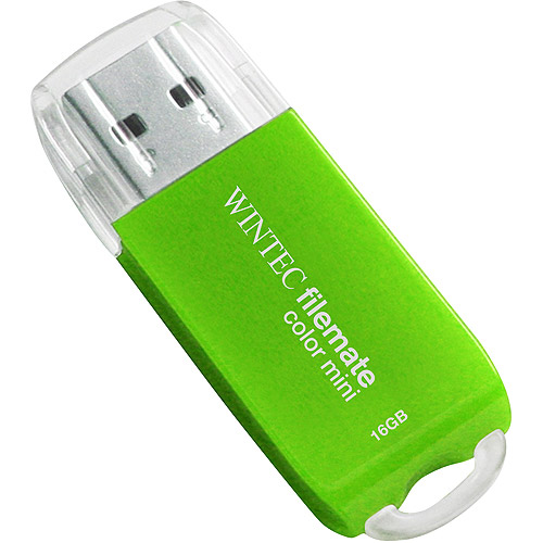 Wintec FileMate 16GB Color Mini USB Flash Drive, Green
