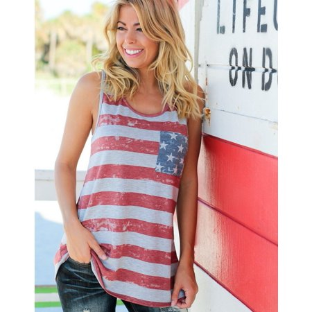 Flag Print Shirt - New Summer Womens Casual National Flag Printed Vest Sleeveless Bowknot T-shirt Tops
