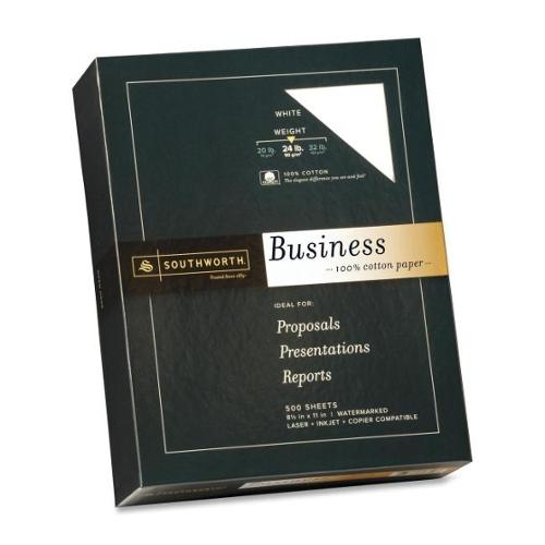 """Southworth 100% Cotton Business Paper - Letter - 8.50"""" x 11"""" - 24 lb Basis Weight - Recycled - 100% Recycled Content - W"""