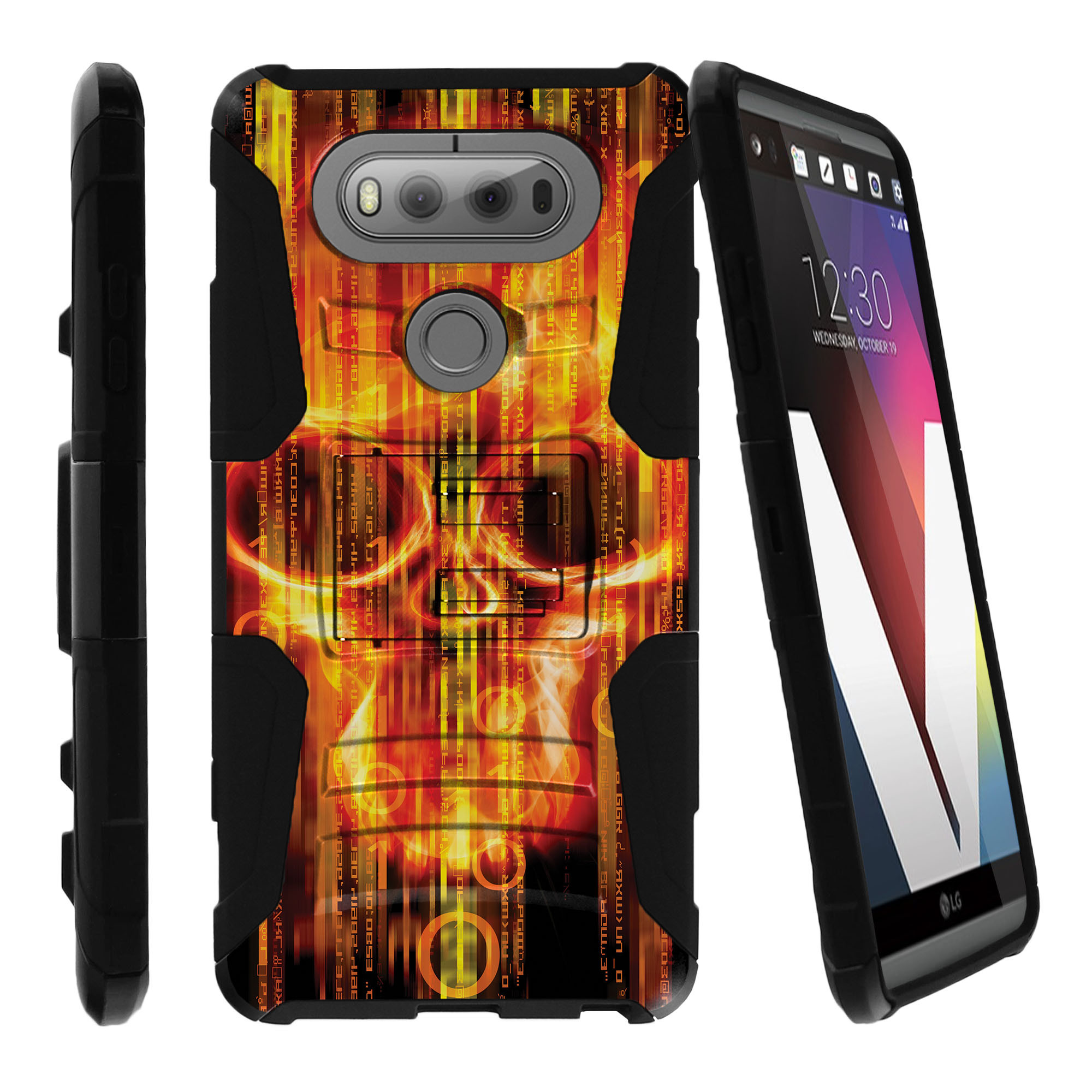 LG V20 Case | V20 Case Shell [Clip Armor]- Premium Defender Case Hard Shell Silicone Interior with Kickstand and Holster by Miniturtle® - Digital Skull