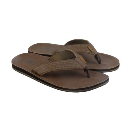 DVS Ikin Mens Brown Leather Flip Flops Slip On Sandals Shoes