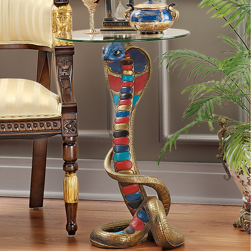 Design Toscano Renenutet Egyptian Cobra Goddess Glass Topped End Table