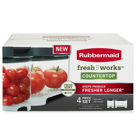 Rubbermaid Freshworks Countertop Produce Saver Small & Medium Container Set, Clear/Grey