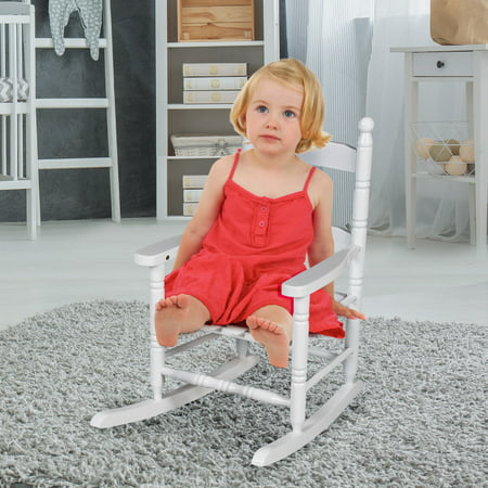 Costway Classic White Wooden Children Kids Rocking Chair Slat Back (Pink Upholstered Rocking Chair)
