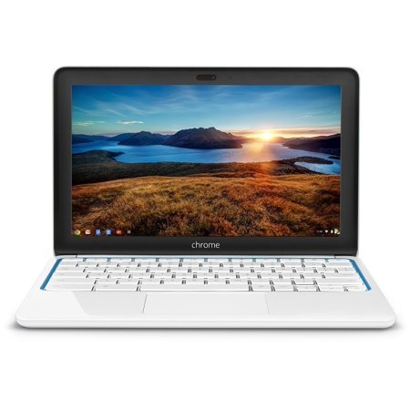 2016 hp chromebook 11.6-inch laptop, samsung dual-core processor 1.7ghz, 2gb ram, 16gb ssd, 802.11b/g/n wifi, bluetooth, hdmi, white/blue (certified refurbished)