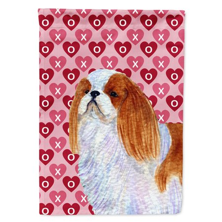 - English Toy Spaniel Hearts Love and Valentine's Day Portrait Garden Flag