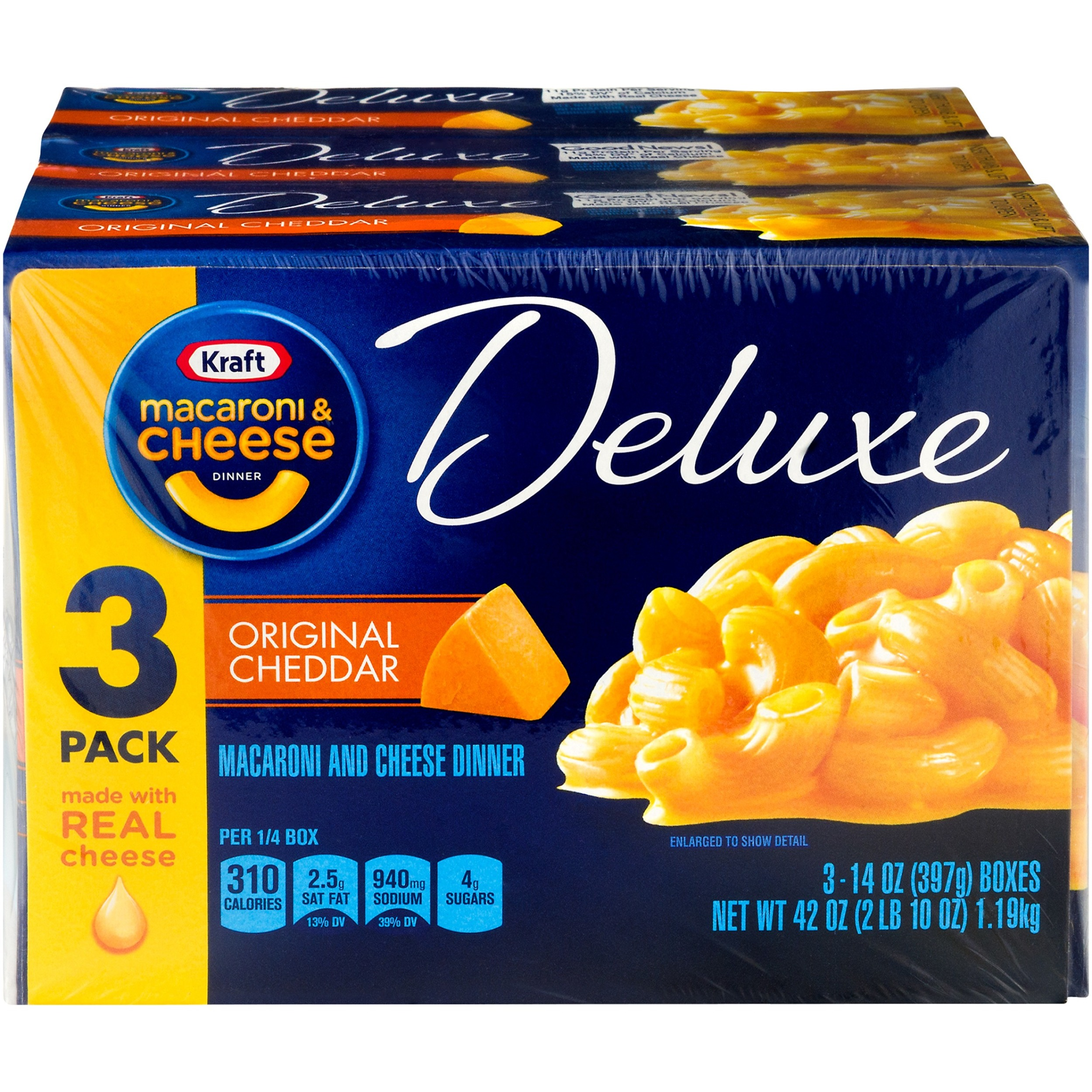 Kraft Deluxe Original Cheddar Macaroni & Cheese Dinner Dry, 3 - 14 oz Boxes