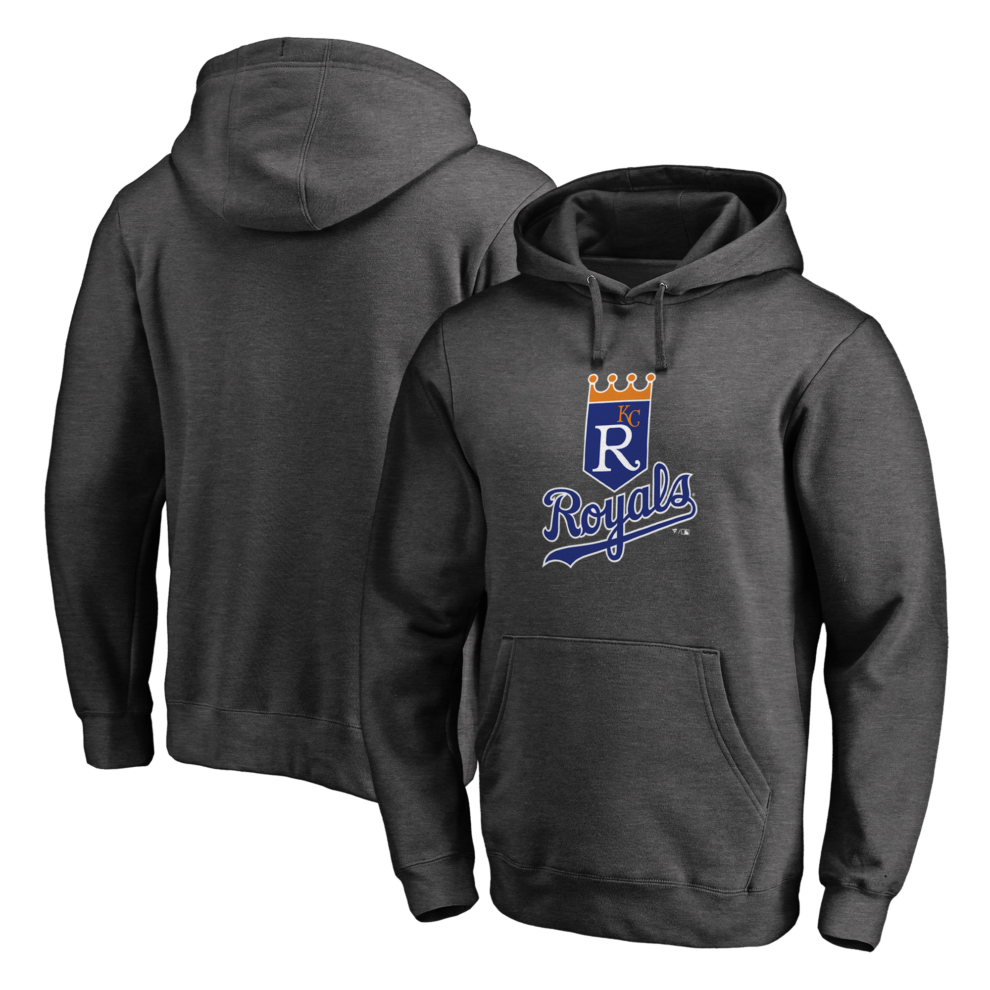 Kansas City Royals Fanatics Branded Cooperstown Collection Huntington Pullover Hoodie - Heathered Gray