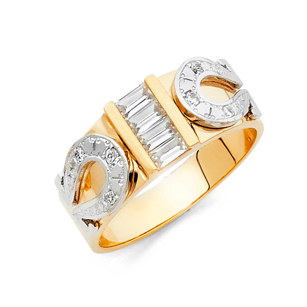 FB Jewels 14K White and Yellow Gold Ring Two Tone Round Cubic Zirconia CZ Mens Anniversary Wedding Band
