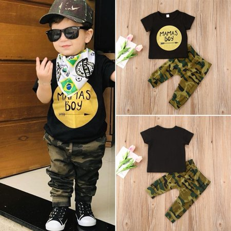 Toddler Kid Baby Boy Clothes Set T-shirt Tops  Camouflage Pants Casual Trousers Outfits - image 4 of 4