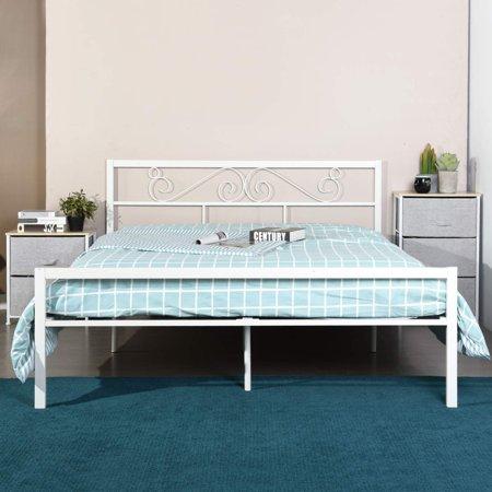 Homycasa Full Size Bed Frame With Wood Slats White Platform Bed