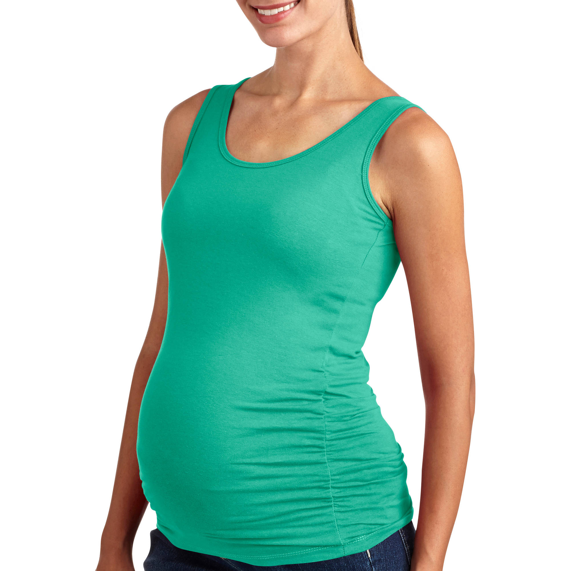 Oh! Mamma Maternity Basic Tank with Side Ruching-- Available in Plus Size