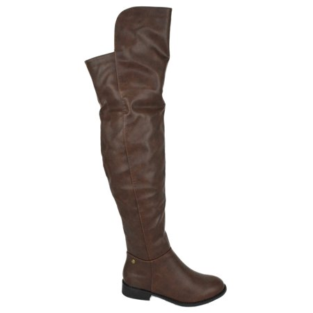 OKSANA-313 Dark Brown Wild Diva Lounge Women Flat Riding Over The Knee Thigh High Boots Studded 6 (Black Thigh High Boots For Halloween)