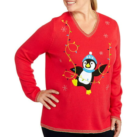 womens plus size christmas v neck sweaters