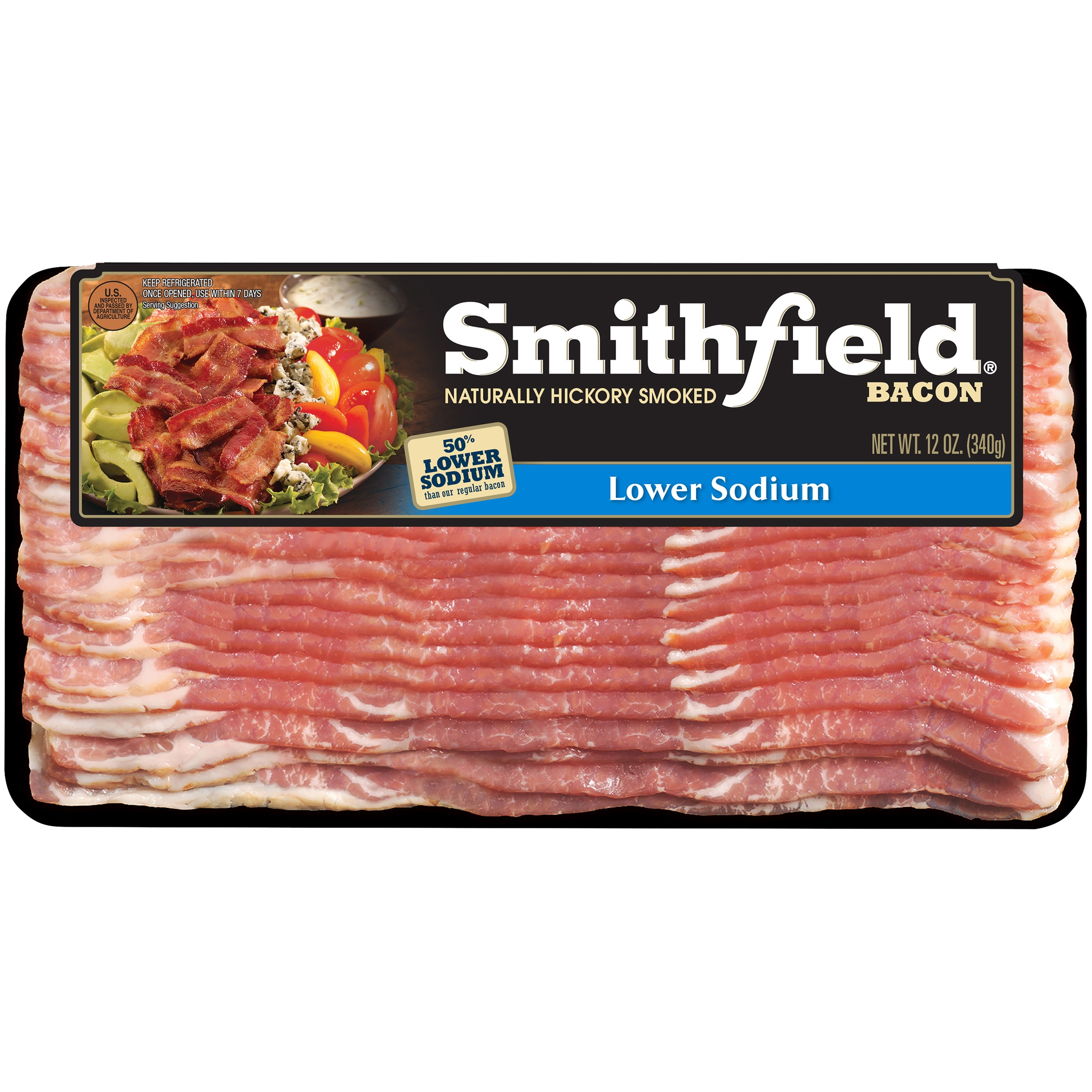 Smithfield® Naturally Hickory Smoked Lower Sodium Bacon 12 oz. Package