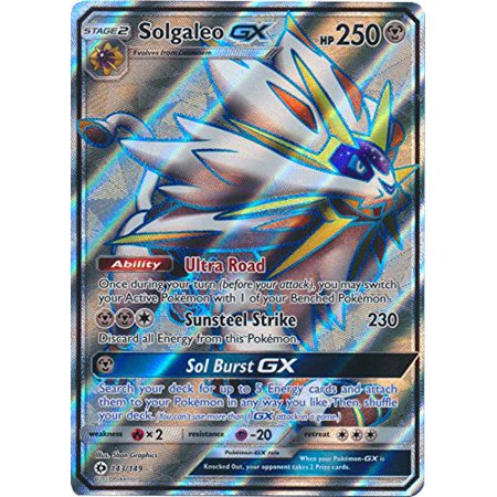 Solgaleo-GX - 143/149 - Full Art Ultra Rare - Pokemon Sun & Moon, From USA,Brand Takara
