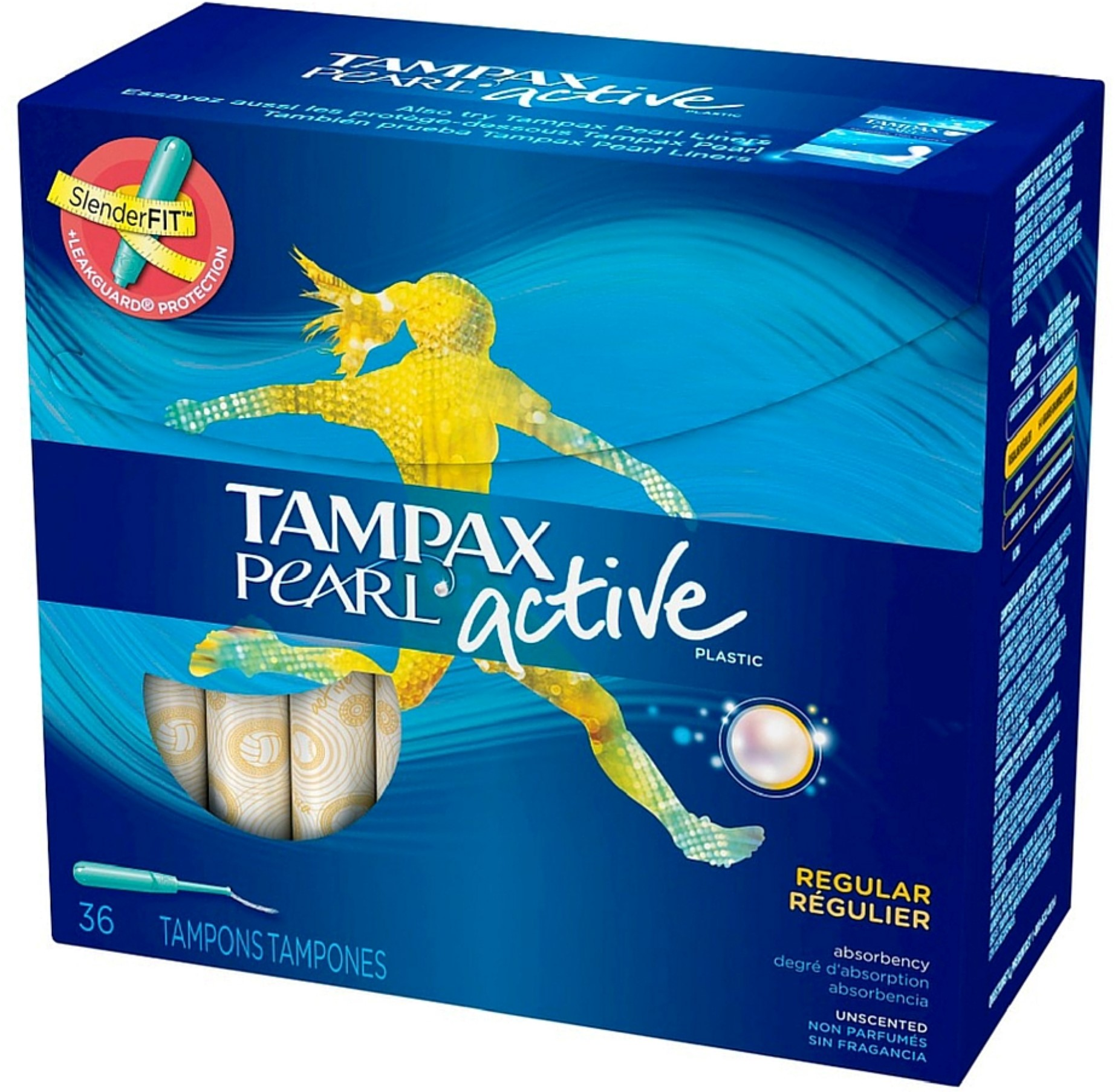 Tampax Pearl Active Plastic Unscented Tampons, Regular Absorbency 36 ea (Pack of 2)