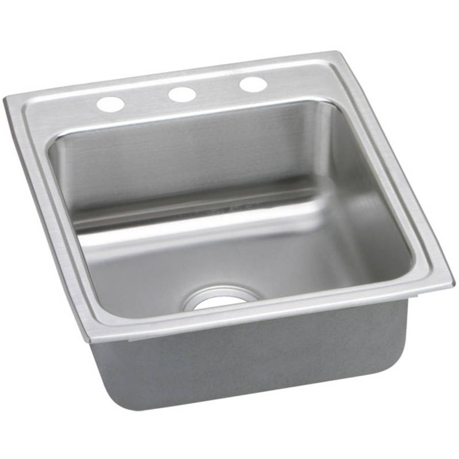Elkay LR2022OS4 Gourmet Lustertone Stainless Steel Single Bowl Top Mount Sink with OS4 Faucet Holes