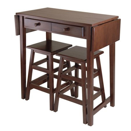 Winsome Wood Mercer 3-Pc Drop Leaf Kitchen Island Set, Cappuccino