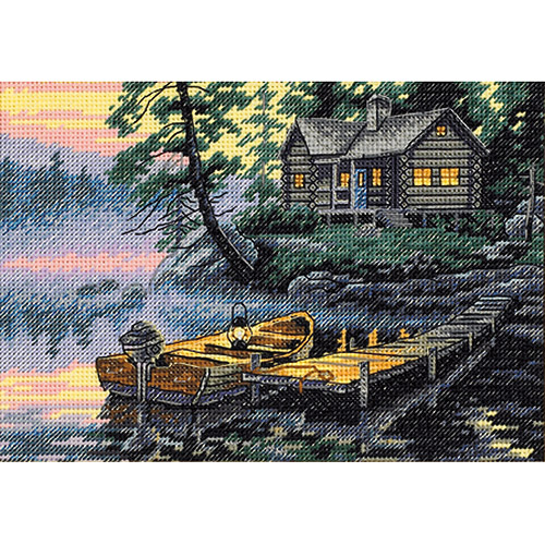 "Dimensions Gold Collection ""Petite Morning Lake"" Counted Cross Stitch Kit, 7"" x 5"""