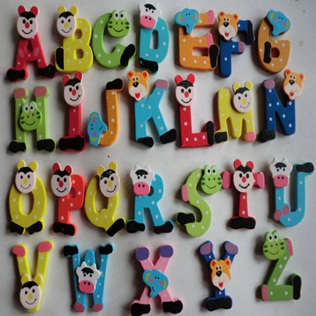 New Amusing 26pcs Wooden Cartoon Alphabet A-Z Magnets Child Educational -