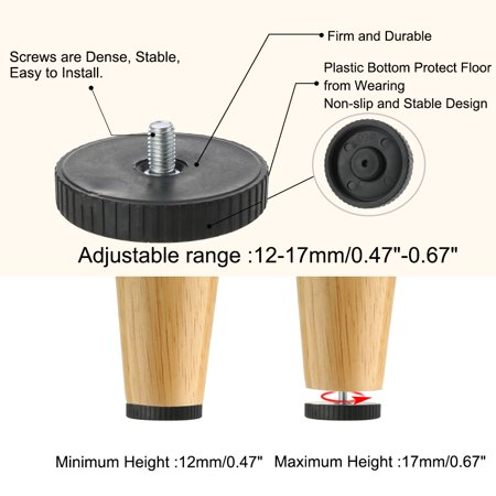 M8 x 12 x 60mm Leveling Feet Floor Protector for Home Apartment Desk Leg 24pcs - image 1 of 7
