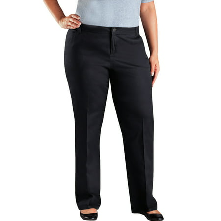 - Genuine Dickies Women's Plus Size Mid rise Relaxed Fit Straight Leg Twill Pants
