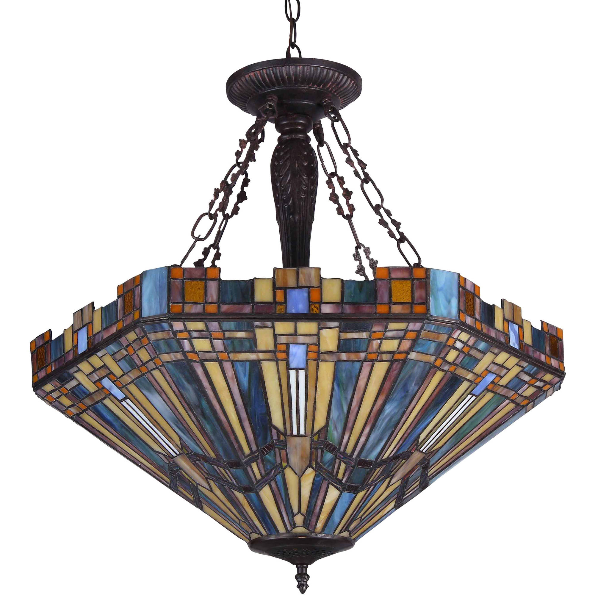 Chloe lighting saxon tiffany style 3 light mission inverted ceiling pendant fixture with 24 shade