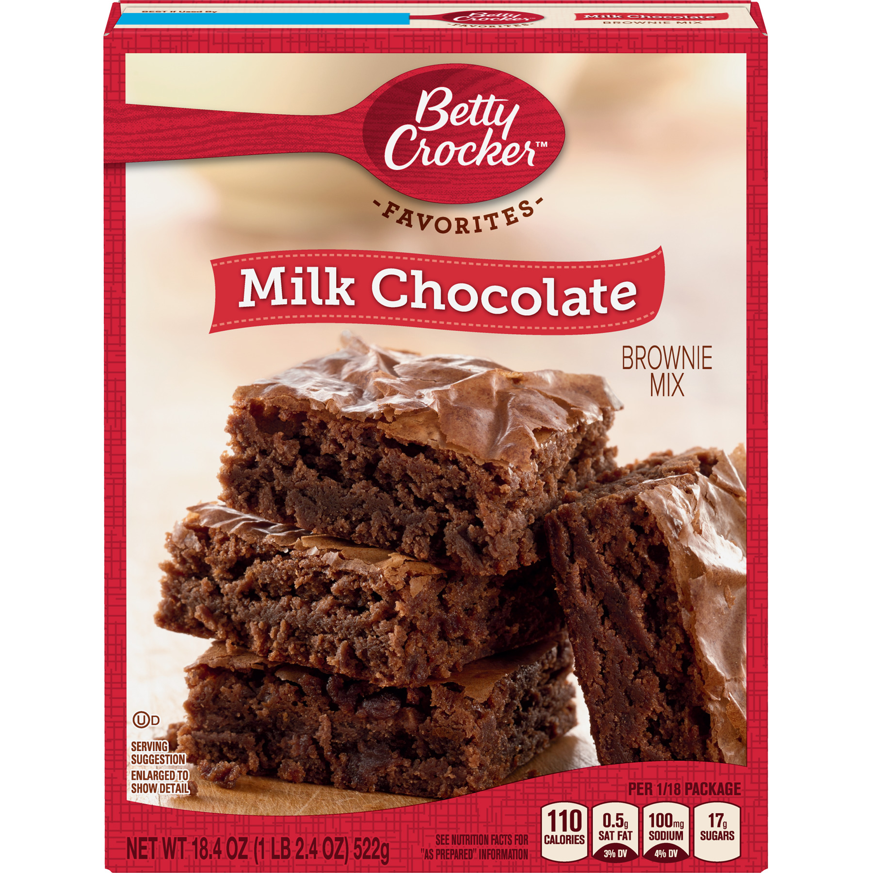 (2 Pack) Betty Crocker Milk Chocolate Brownie Mix Family Size, 18.4 oz
