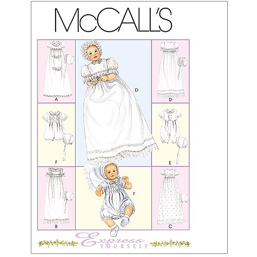 McCall's Pattern Infants' Christening Gown, Rompers with Snap Crotch in 2 Lengths All Sizes in 1 Envelope