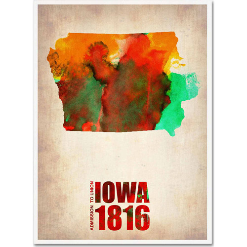 "Trademark Fine Art ""Iowa Watercolor Map"" Canvas Art by Naxart"