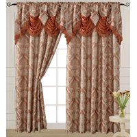 Luxury Jacquard Curtain Panel with Attached Waterfall Valance, 54 by 84-Inch Ashley Brick (1-Panel)