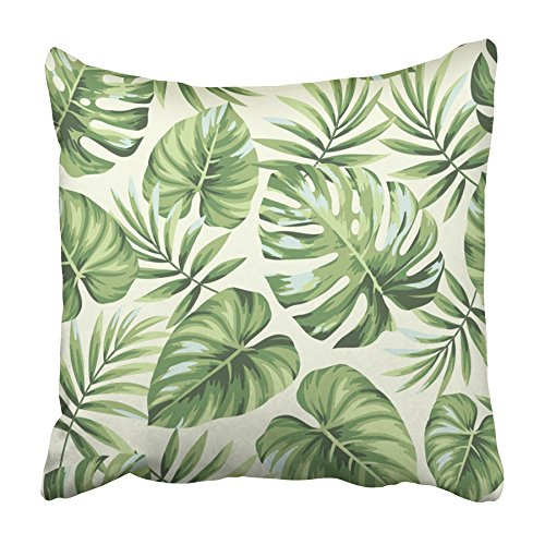 USART Green Leaf Tropical with Exotic Palm Leaves Flora Foliage Tree Aloha Beach Pillowcase Cushion Cover 18x18 inch