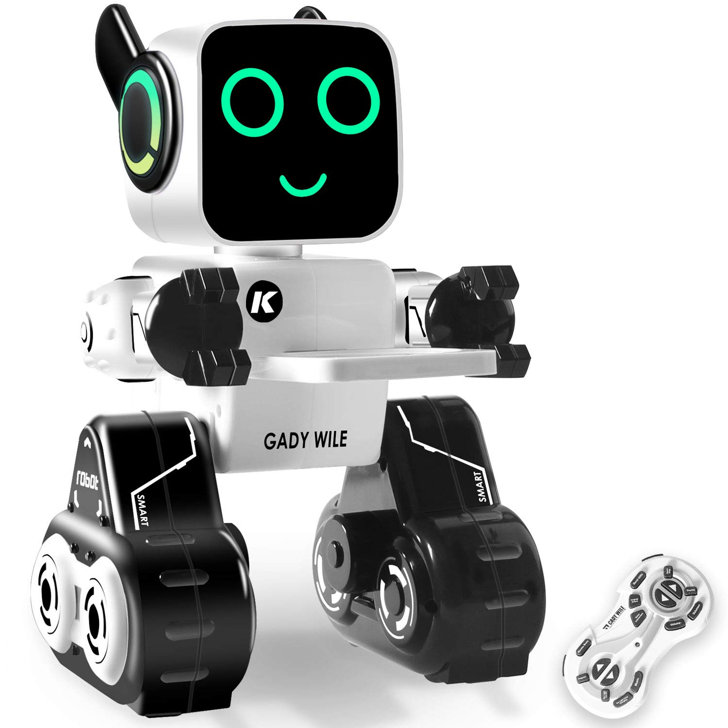 KIDdesigns Remote Control Toy Robot for kids,Touch & Sound Control, Light-up Eyes & Mouth. Built-in Coin Bank. Programmable, Rechargeable RC Robot Kit for Boys, Girls All Ages.