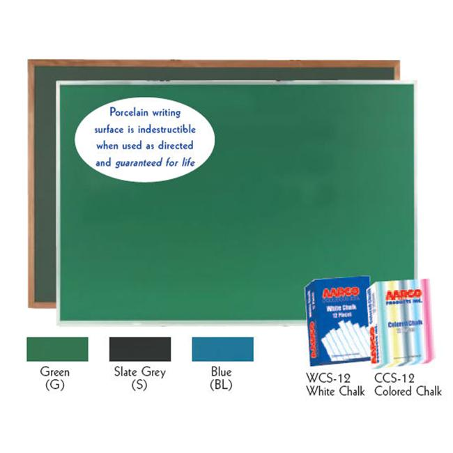 Aarco DS48192G Porcelain on Steel Chalkboard Aluminum Frame Green by Aarco Products Inc