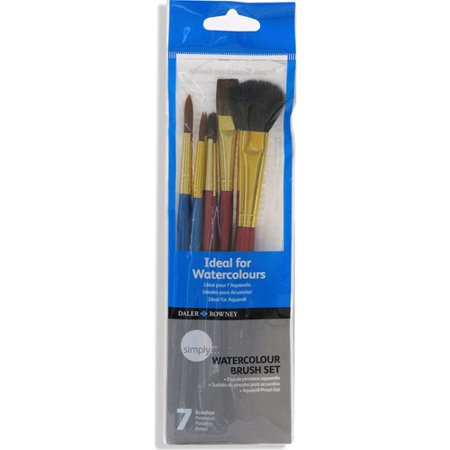 Daler-Rowney Simply Watercolor Brush Set, 7 Piece](Watercolor Brushes)