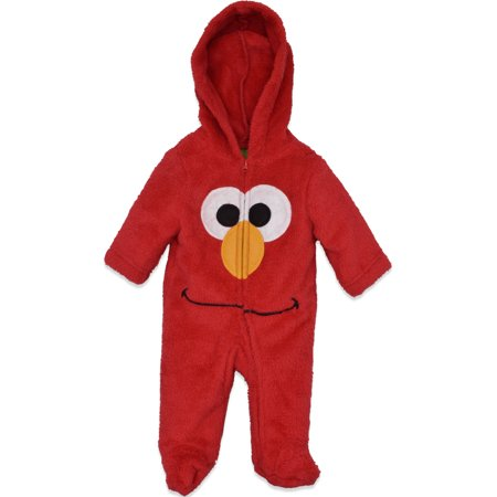 Sesame Street Elmo Newborn Baby Boys' Zip-Up Hooded Costume Coverall with Footies, 6-9M