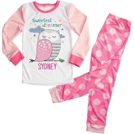 Personalized Pink Owl Girls Toddler Pajamas - 2T, 3T, 4T, 5/6T