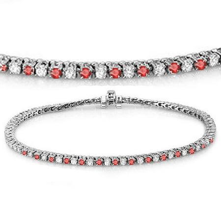 Dazzlingrock Collection 14K Round Real Ruby & White Diamond Ladies Tennis Bracelet, White (Ladies Round Diamond Tennis Bracelet)