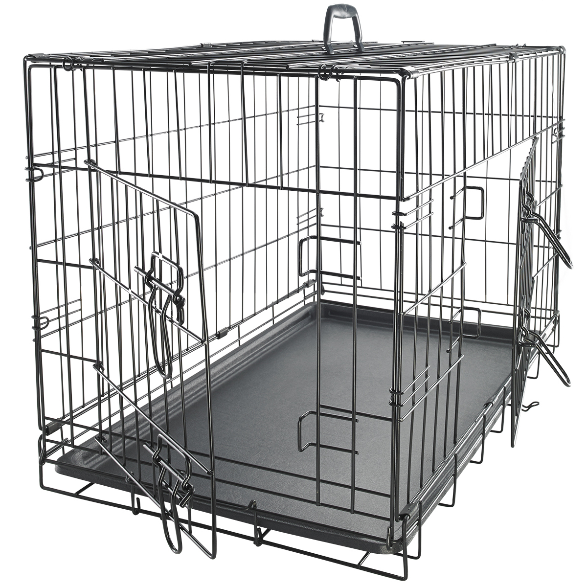 "OxGord 48"" Dog Crate with Divider, Double-Doors Folding Pet Cage with Heavy Duty Metal Wires and Removable ABS Plastic"