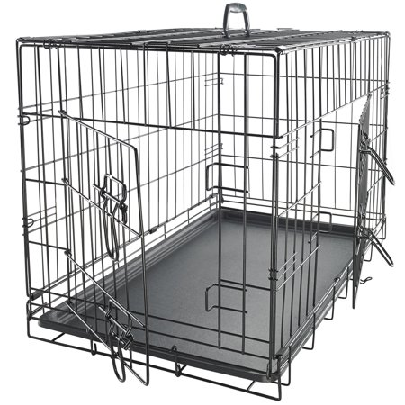 Oxgord 42 heavy duty foldable double door dog crate with for Double door with dog door